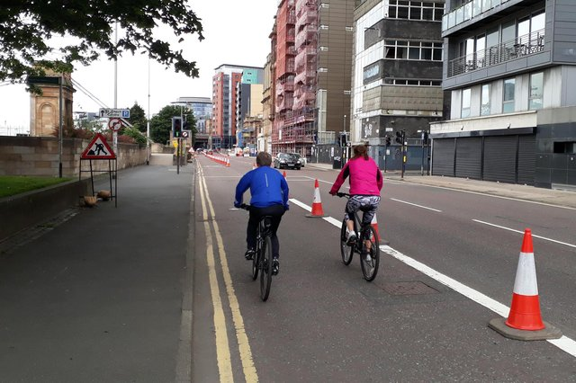 Temporary new cycle lanes could become permanent. Picture: The Scotsman.