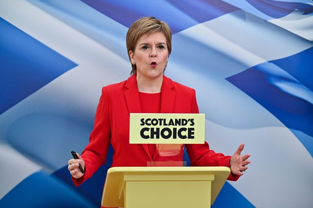 Nicola Sturgeon, launches her party's manifesto from a conservatory at her home in Glasgow