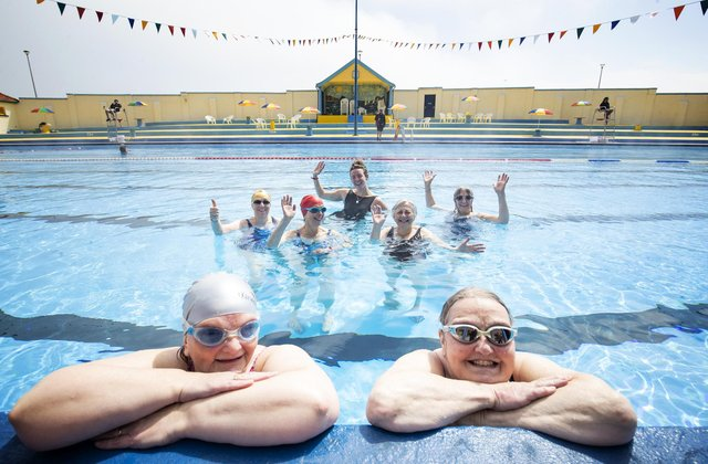"""Scots will come together on Sunday to mark the first national """"Thank You Day"""". Big post-lockdown smiles here at the Stonehaven Open Air Pool in Aberdeenshire. Picture: Jane Barlow/PA"""