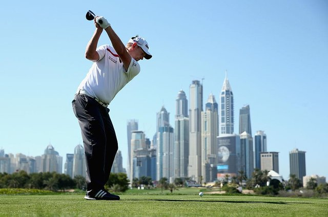 Stephen Gallacher tees off on the eighth hole on the Majlis Course at Emirates Golf Club during the 2015 Omega Dubai Desert Classic. Picture: Warren Little/Getty Images.