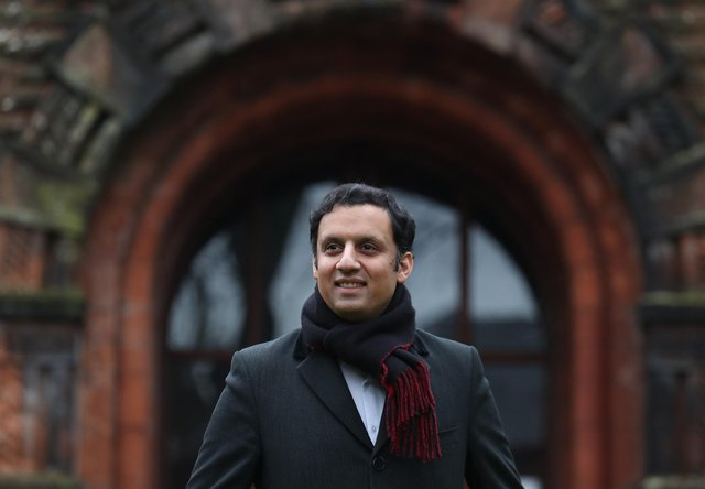 Scottish Labour leadership hopeful Anas Sarwar poses for the media outside Pollokshields Burgh Hall in Glasgow. Picture date: Tuesday January 19, 2021.