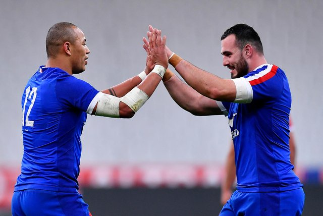 Gael Fickou and Jean-Baptiste Gros celebrate France's dramatic win over Wales. Picture: Aurelien Meunier/Getty Images