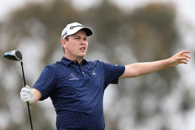 Bob MacIntyre reacts on the second hole during the third round of the 2021 US Open at Torrey Pines. Picture: Sean M. Haffey/Getty Images.