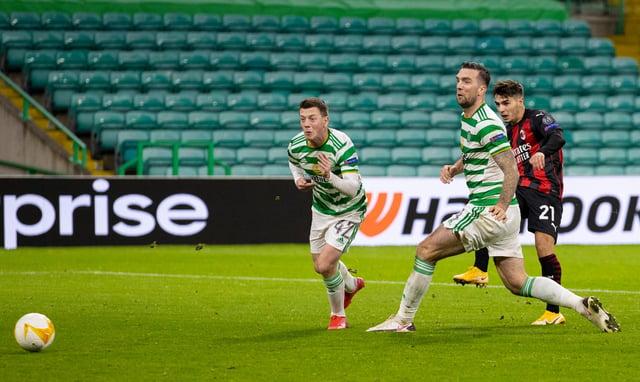 Brahim Diaz scores Milan's second at Celtic Park (Photo by Craig Williamson / SNS Group)