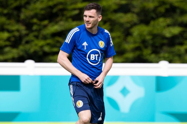 Andy Robertson during a Scotland training session at Rockliffe Park - their base for Euro 2020. (Photo by Craig Williamson / SNS Group)