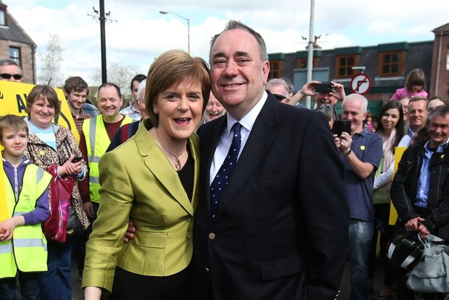 First Minister Nicola Sturgeon with Alex Salmond while on the General Election campaign trail in Inverurie in the Gordon constituency.