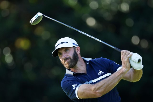 Dustin Johnson plays his shot from the ninth tee during the second round of the Masters at Augusta National Golf. Picture: Rob Carr/Getty Images