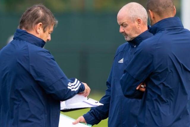 Scotland Head Coach Steve Clarke alongside John Carver and Steven Reid. (Photo by Alan Harvey / SNS Group)