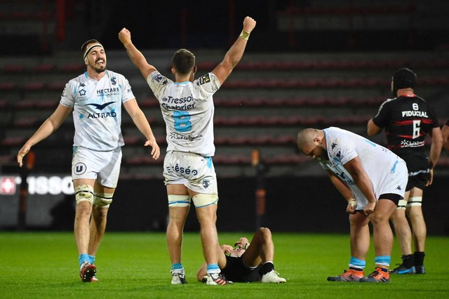 Montpellier players celebrate their impressive win over French Top 14 leaders Toulouse at the weekend. Picture: Lionel Bonaventure/AFP via Getty Images