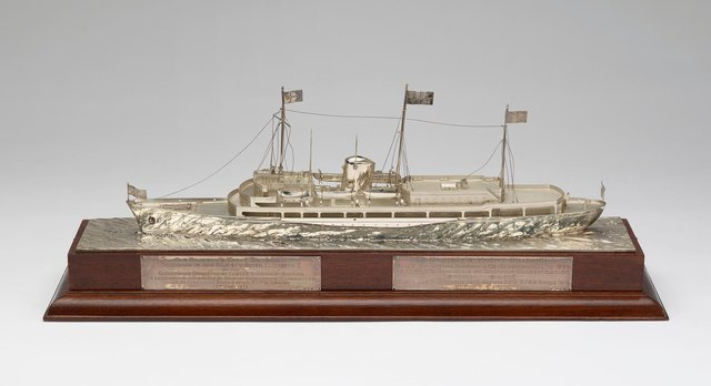 A silver model of HMY Britannia produced by Garrard & Co and presented to the Queen and Prince Philip by Lloyd's Register of Shipping in 1972