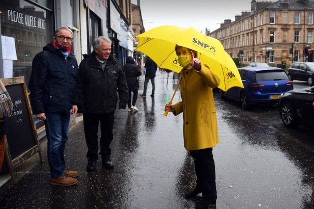 Scotland's First Minister Nicola Sturgeon, talks to members of the public as she campaigns for the Scottish Parliament election in her Glasgow Southside constituency.