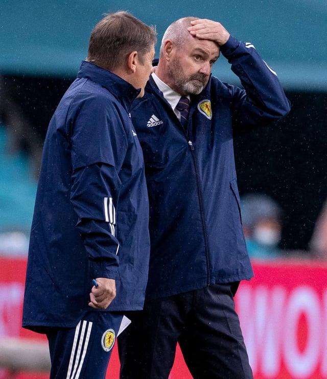Scotland head coach Steve Clarke (right) with assistant John Carver.