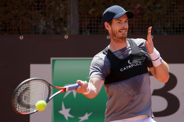 Andy Murray practises in Rome at the weekend. Picture: Giampiero Sposito/Getty Images