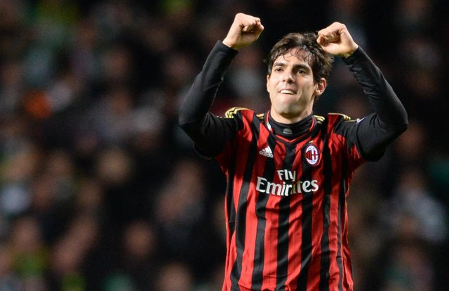 Former Milan star Kaka celebrates after heading his side into an early lead in a 2013 game at Celtic Park. Picture: SNS