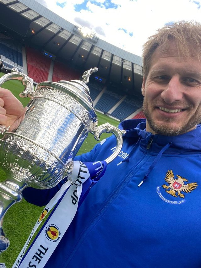 Zdenek Zlamal celebrated St Johnstone's Scottish Cup win but is now a free agent after leaving Hearts.
