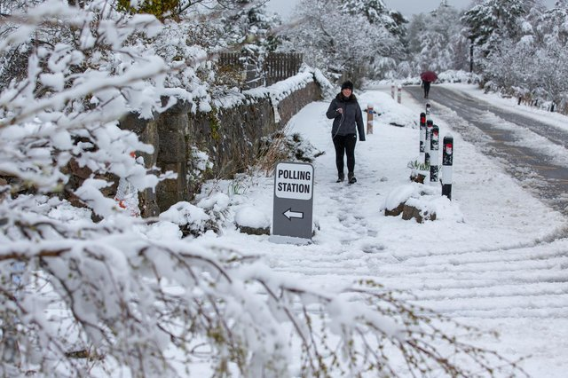 Snowy conditions at a Scottish Parliamentary election polling station in the village of Farr, near Inverness. (Picture credit: Paul Campbell/PA Wire)