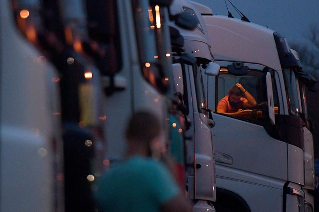 It has been calculated that there has been a driver shortfall of more than 65,000 across the UK since January. Picture: Justin Tallis/AFP via Getty Images.
