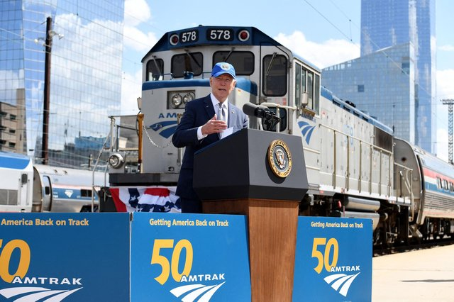 US President celebrating Amtrak's 50th birthday in Philadelphia last Friday. (Picture: Olivier Douliery/AFP/Getty Images)