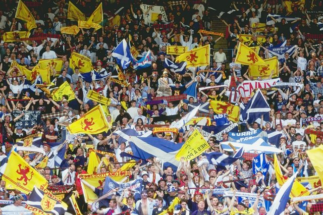 Scotland football fans pictured at Wembley