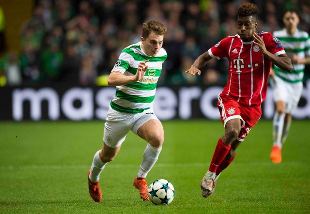 Celtic's James Forrest in action against Bayern Munich in the Champions League in October 2017, the 2017-18 the last season the club featured in the competition's group stages. (Photo by Rob Casey/SNS Group).