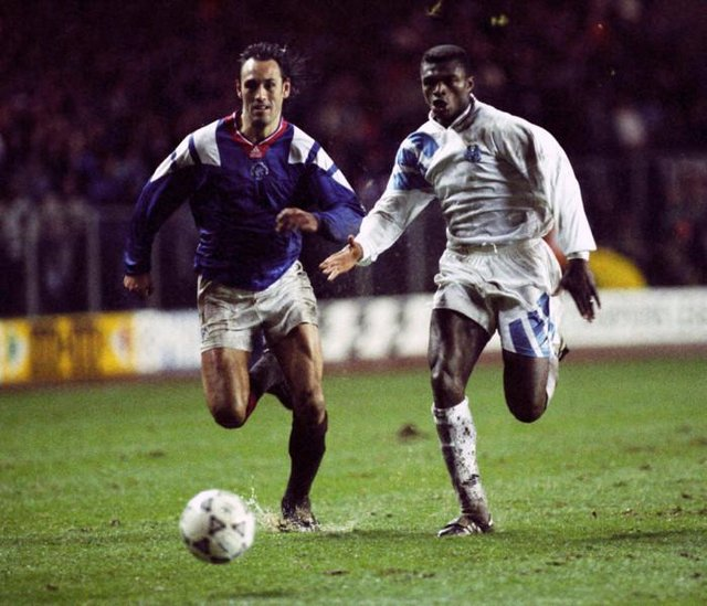 Rangers drew with Marseille in November 1992 at Ibrox before the away group stage fixture in the south of France in April 1993 Rangers striker Mark Hateley (left) goes for the ball with Marcel Desailly in the Ibrox encounter.