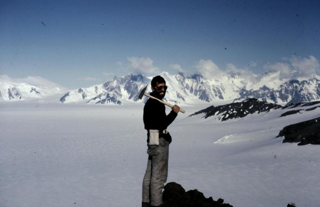 Dr Malcolm Hole at Hole Peninsula, part of Rothschild Island in the Antarctic which has been named after the geologist given his pioneering work in the region. PIC: Contributed.