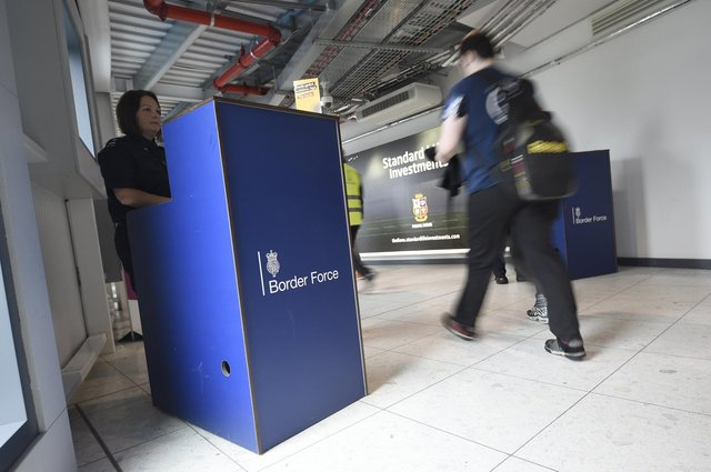 Border Force officials compelled arriving passengers to prove they had bought Covid test kits before being allowed to pass. Picture: Greg Macvean (2017)