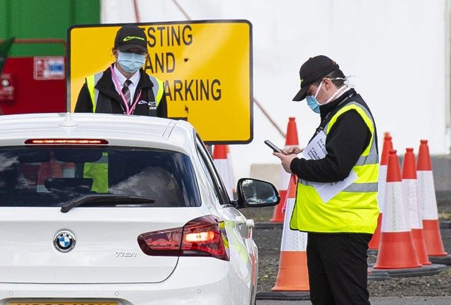 A testing centre has been set up at Glasgow Airport in response to the coronavirus pandemic (Picture: Ross MacDonald/SNS Group)