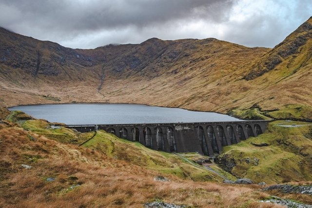 The Cruachan power plant, opened in 1965, is linked to an upper reservoir and dam.