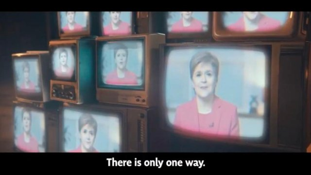 """A dramatic new party political broadcast from the SNP was branded """"creepy"""" by some viewers on Tuesday evening, who likened the image of the First Minister plastered across dozens of television screens during the advert to that of Big Brother in George Orwell's 1984."""