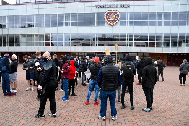 Hearts fans protesting outside Tynecastle against the stewardship of manager Robbie Neilson and owner Ann Budge. Picture: SNS