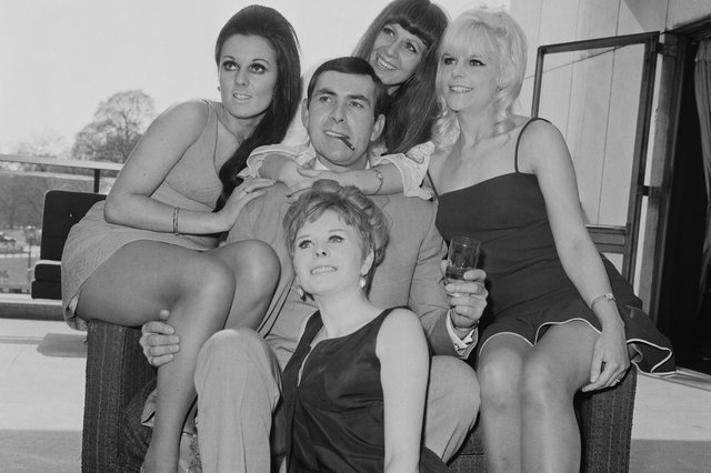 Neil Connery is joined by a group of Bond Girl-style actresses at the Hilton Hotel in London to publicise his film Operation Kid Brother in 1968