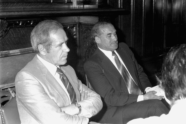 Hector Clark (right) with Detective Chief Superintendent Brian Cunningham during a press briefing in Leith Police Station, the incident room for the investigation following the murder of Caroline Hogg in July 1983. Pic: Bill Newton.
