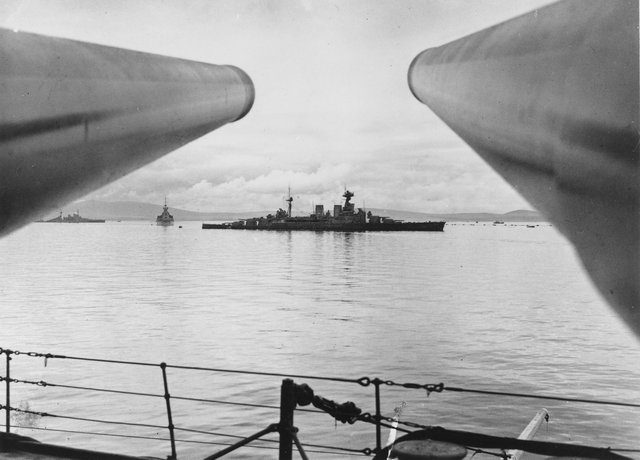 HMS Hood before her departure from Scapa Flow, taken from HMS Prince of Wales. Picture: Orkney Library and Archive