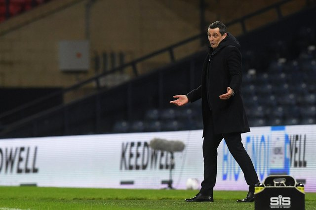 Hibs will contest another cup semi-final in a virtually-empty Hampden on Saturday but manager Jack Ross hopes more can be done to accommodate fans at the final. Photo by Ross MacDonald / SNS Group
