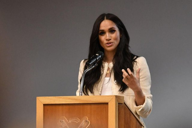 """The Duchess of Sussex said she could not be expected to stay silent if the royal family played a part in """"perpetuating falsehoods"""" about her and Harry. (Photo by Ben Stansall-WPA Pool/Getty Images)"""