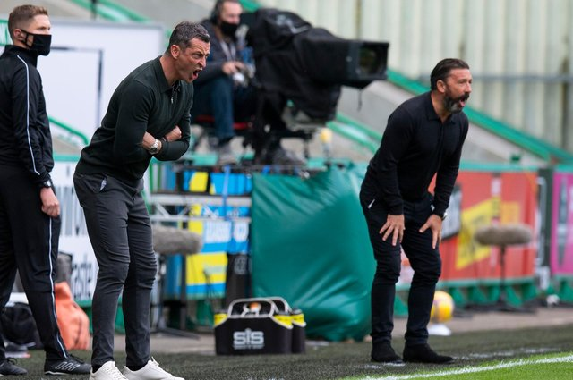 Hibs manager Jack Ross and former Aberdeen manager Derek McInnes during a league match between the sides at the start of last season. Photo by Ross Parker / SNS Group