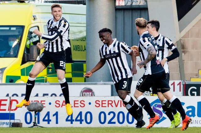 Marcus Fraser (left) leaps in celebration after scoring in St Mirren's Scottish Cup win against Inverness Caledonian Thistle in April. (Photo by Ross Parker / SNS Group)
