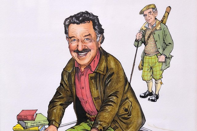 Hardie Brown, with brother Ian behind, as seen by the caricaturist Loon (used with permission)