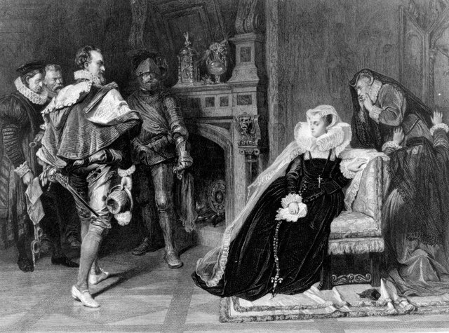 1st February 1587, the death warrant of Mary Queen of Scots, authorised by Elizabeth I, is brought to her in her prison (Photo: Hulton Archive/Getty Images)