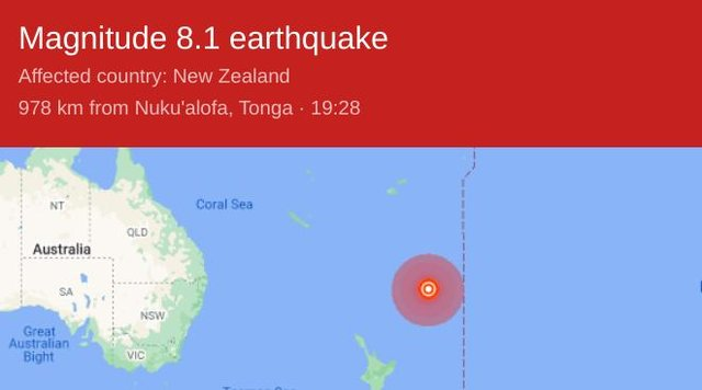 Kermadecs earthquake - the third earthquake to hit New Zealand in the last 12 hours. Tsunami warning is in place.