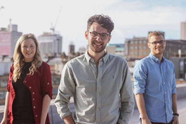 Estendio leadership team - Cara Hunt, Chris Hughes CEO, Euan Colley.
