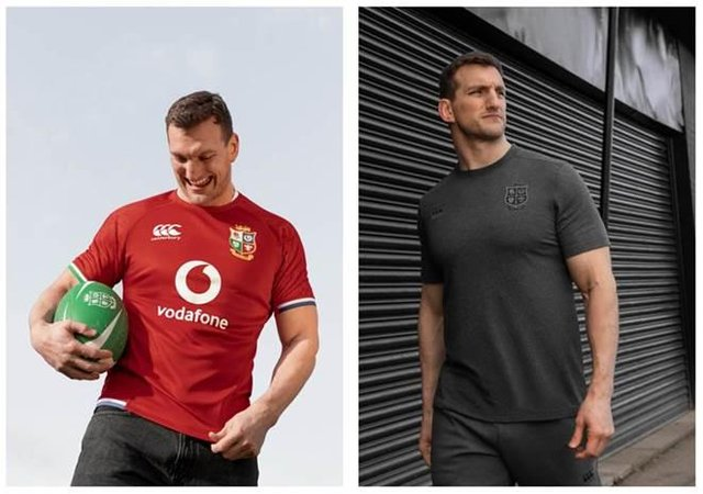 Former captain Sam Warburton models the British & Irish Lions Test jersey which will be worn on this summer's tour to South Africa. Picture: Canterbury