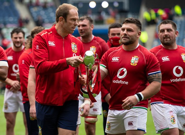 Injured British & Irish Lions captain Alun Wyn-Jones, left, with prop Rory Sutherland after the win over Japan at Murrayfield. Picture: Paul Devlin/SNS