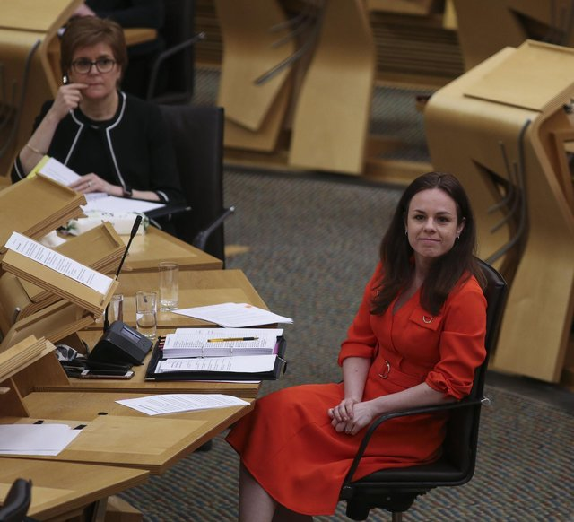 Finance secretary Kate Forbes reacts next to Nicola Sturgeon at Holyrood. Picture: Fraser Bremner - Pool/Getty Images