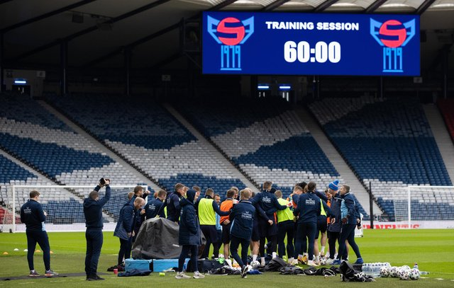 Faroe Islands training session at Hampden Stadium on March 30, 2021, in Glasgow, Scotland.  (Photo by Craig Williamson / SNS Group)