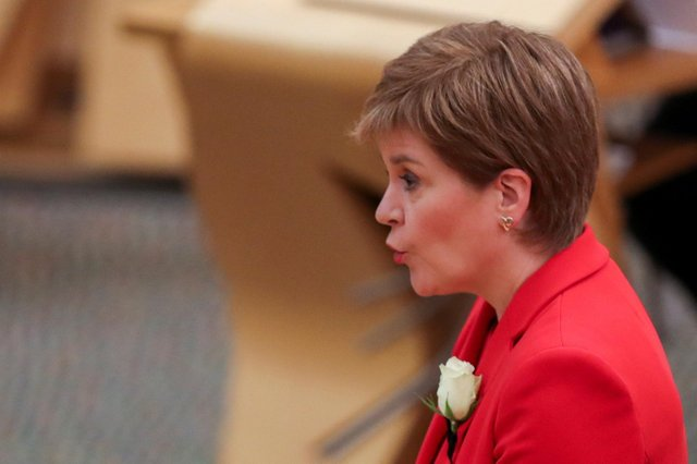 Nicola Sturgeon pictured at the Scottish Parliament in Edinburgh on 13 May 2021 PIC: Russell Cheyne/Pool/AFP/via Getty Images