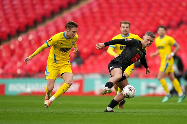 Harrogate Town's Josh McPake (right), on loan from Rangers, in action during the Buildbase FA Trophy 2019/20 Final at Wembley Stadium