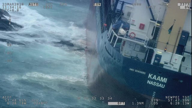 Coastguard helicopter video still showing the general cargo vessel Kaami aground on Sgeir Graidach shoal in the Little Minch.