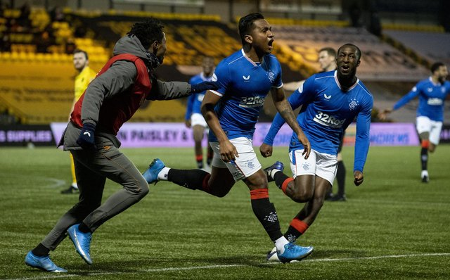 Alfredo Morelos celebrates after scoring to make it 1-0 Rangers  during a Scottish Premiership match between Livingston and Rangers at The Tony Macaroni Arena, on March 03, 2021, in Livingston, Scotland. (Photo by Alan Harvey / SNS Group)